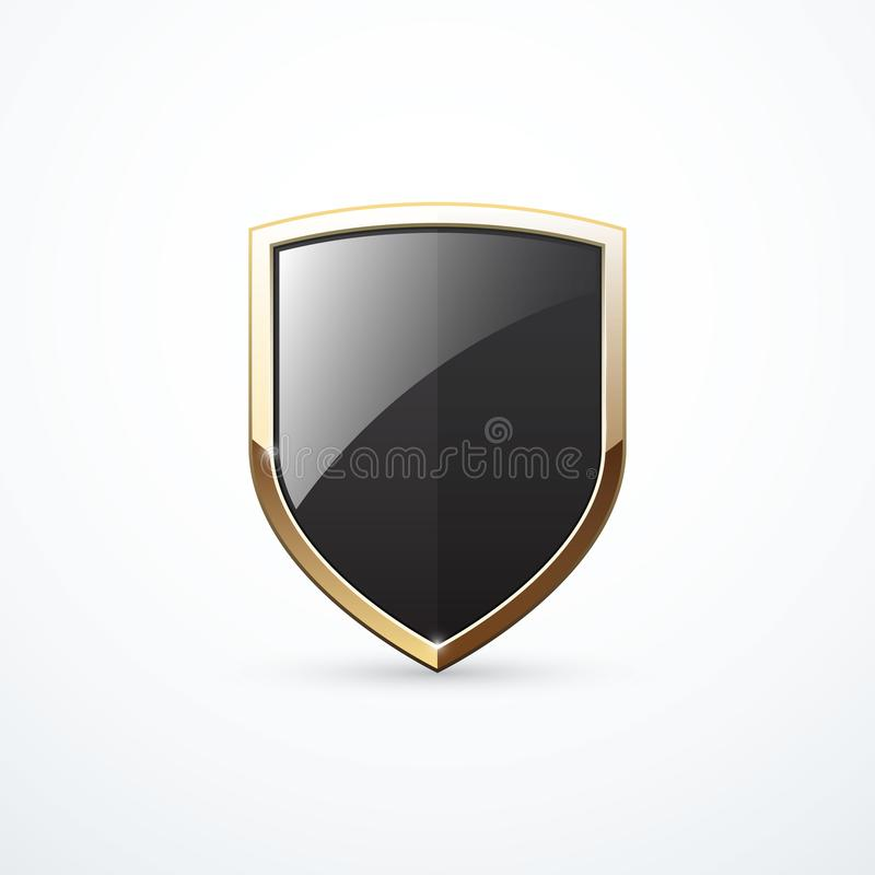 Vector gold and black shield stock illustration