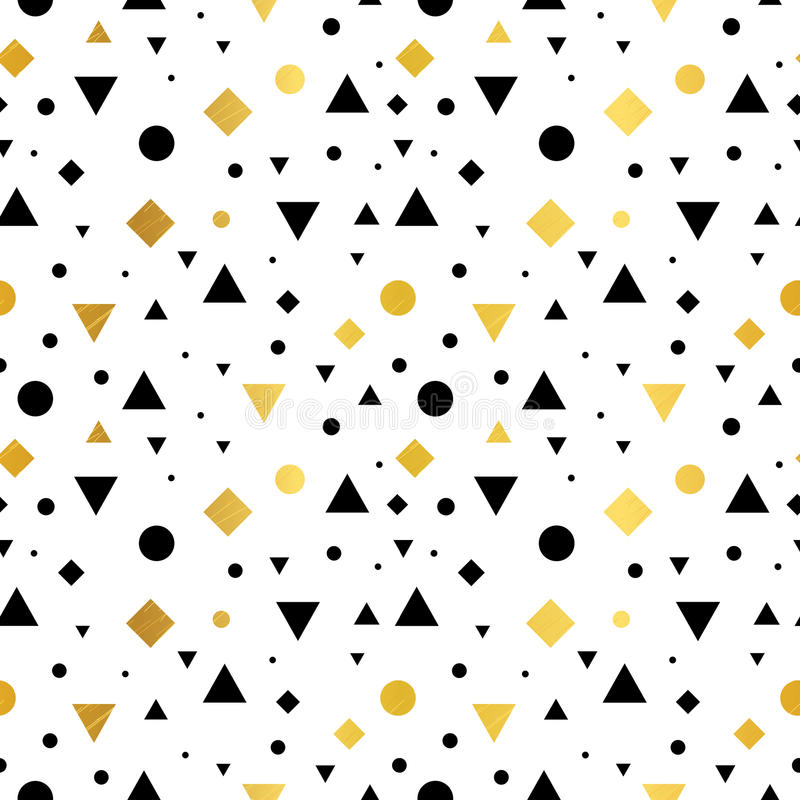 Vector Gold, Black and White Vintage Geometric Shapes Seamless Repeat Pattern Background. Perfect For Fabric, Packaging stock illustration