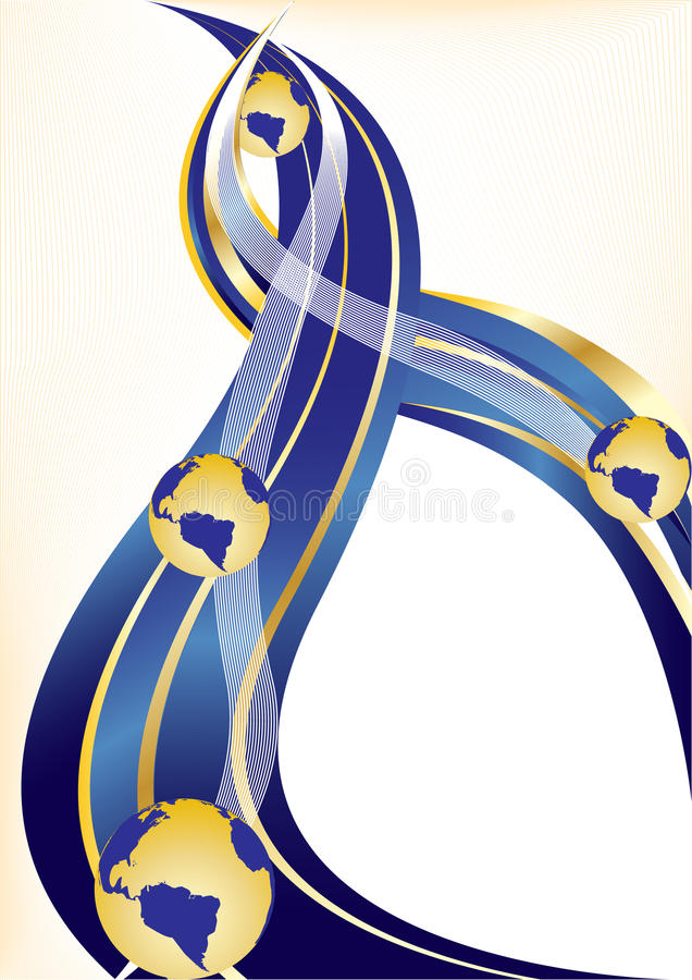 Download Vector Gold And Blue Background With Globe Stock Vector - Image: 9526559