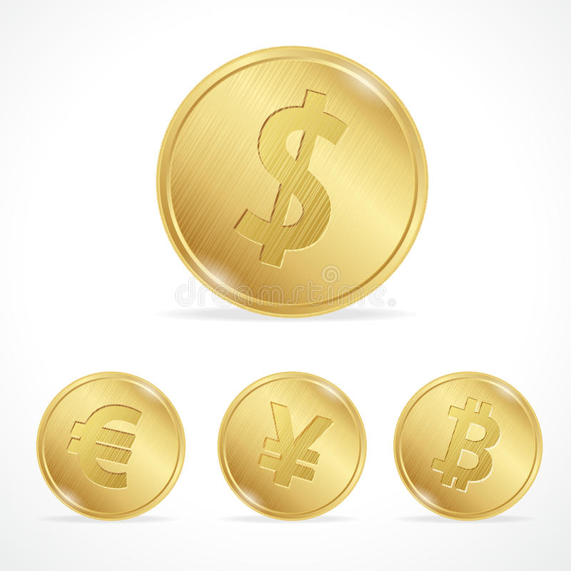 Vector gold coin bitcoin euro dollar yena stock illustration