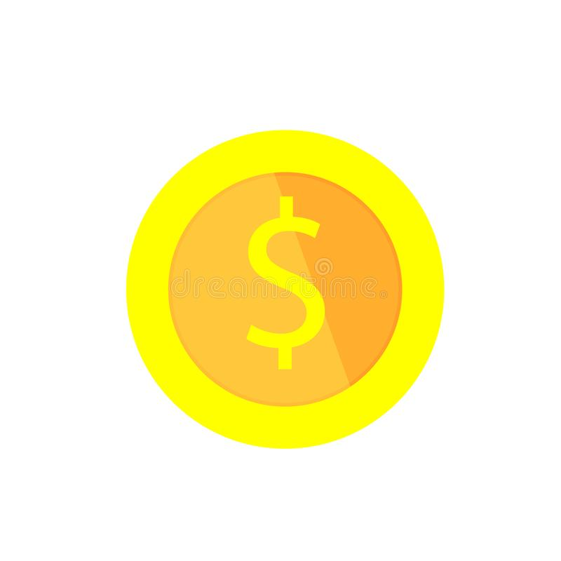 Gold Coin With Dollar Sign Cartoon Vector Illustration Stock