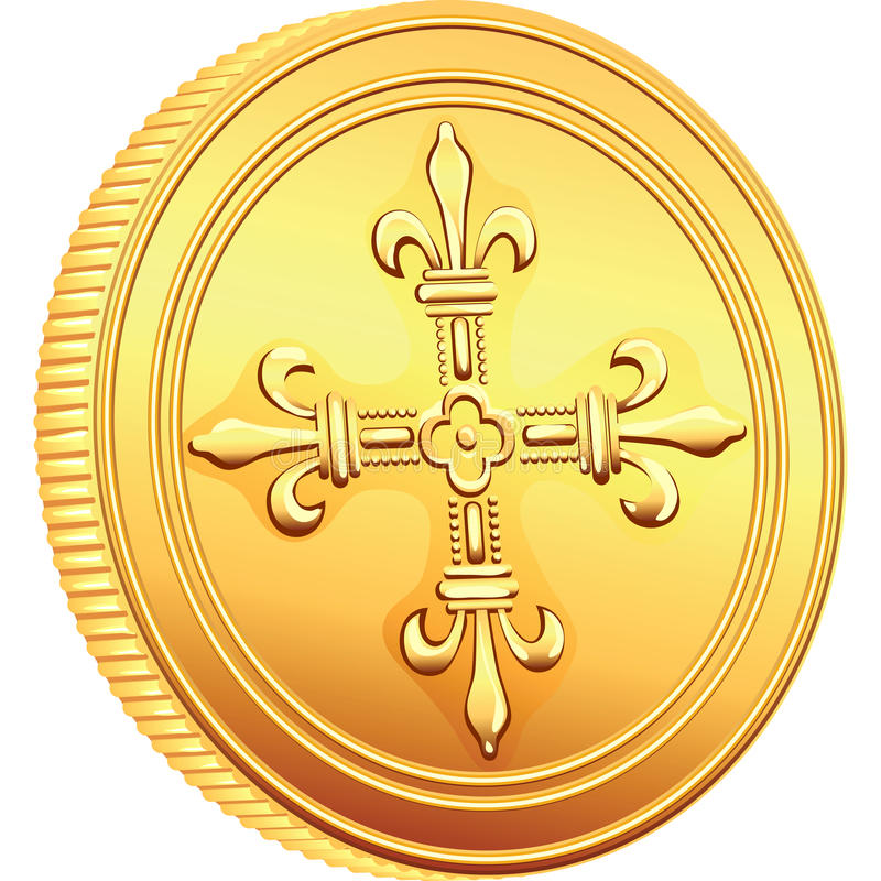 Vector gold coin French ecu reverse royalty free stock image