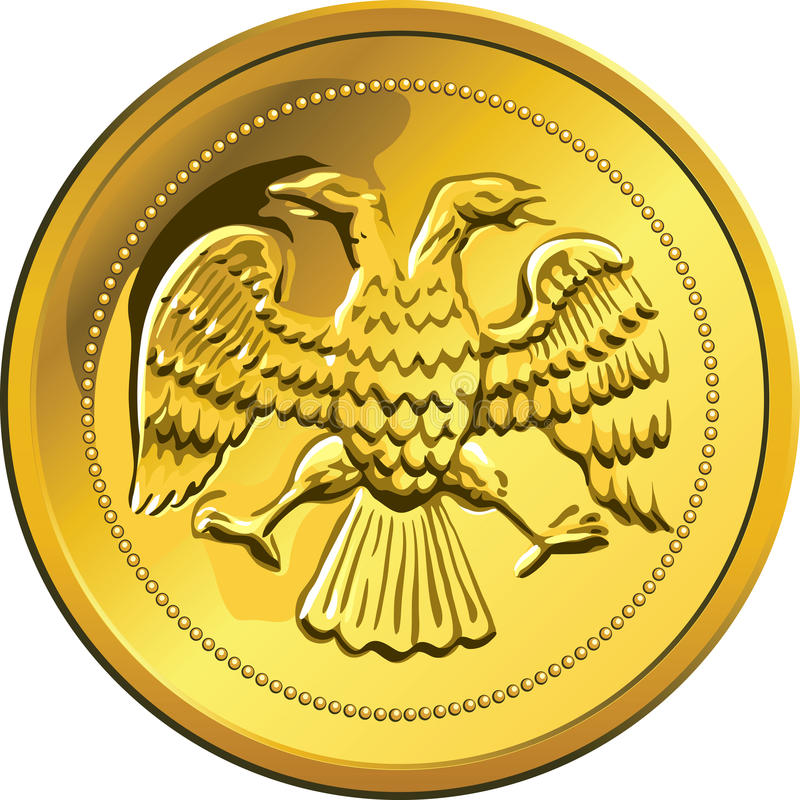 Vector gold coin, ruble money Rossian stock photo
