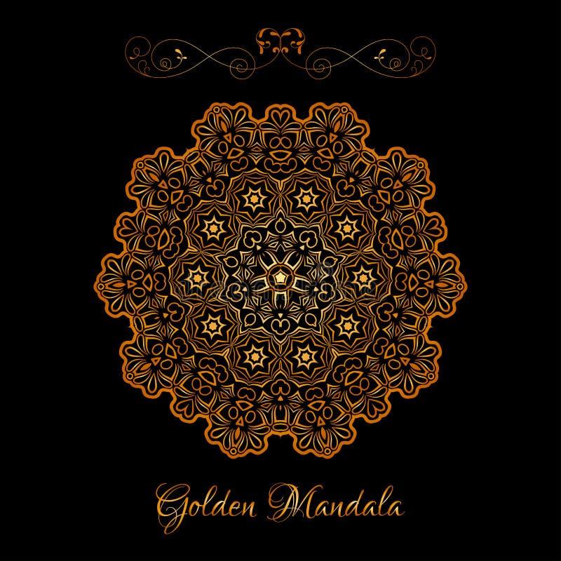 Vector Gold Color Indian Mandala over black background stock illustration