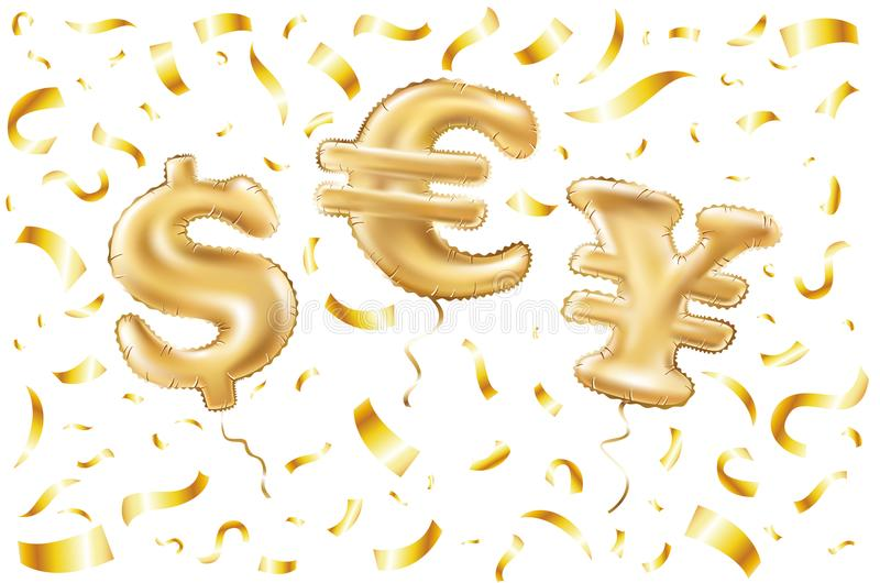 Vector Gold dollar euro yen symbol alphabet balloons, money and currency, Golden confetti number and letter balloon vector illustration
