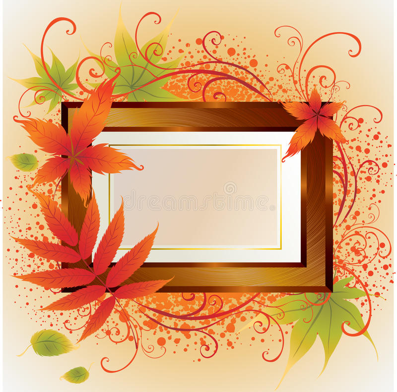 Free Vector Gold Frame With Autumn Leafs. Thanksgiving Royalty Free Stock Photography - 10983377