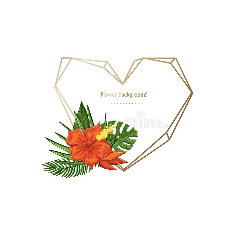 Vector gold geometric polygonal frame heart with tropical flower royalty free illustration