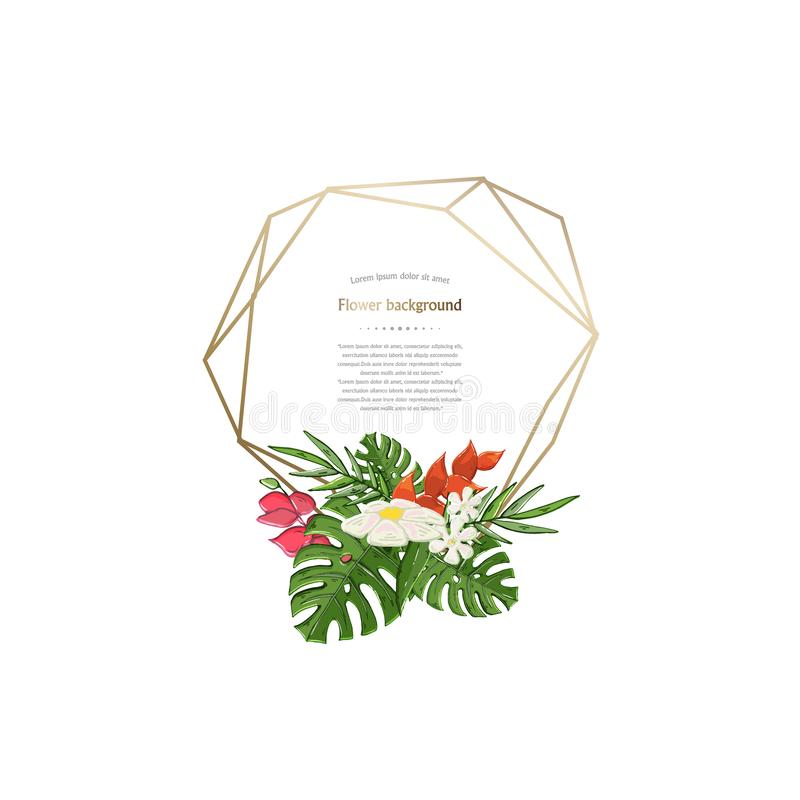 Vector gold geometric polygonal frame with tropical flower royalty free illustration