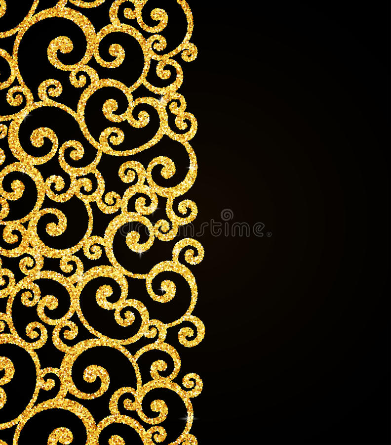 Vector gold glitter curl invitation card with stock vector vector gold glitter floral curl invitation card with swirl damask pattern on black background stopboris Gallery