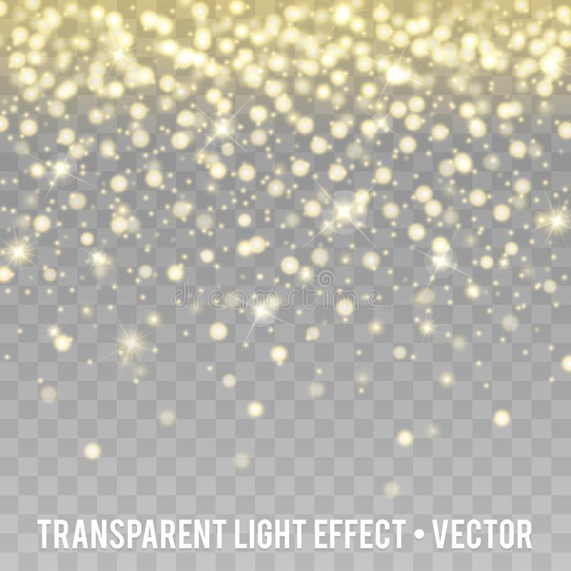 Vector Gold Glitter Effect transparent Background. Star Dust Sparks. stock illustration