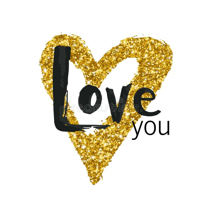 Vector gold glitter heart. Greeting card for Valentine day with hand drawn gold heart on white. Love you stock illustration