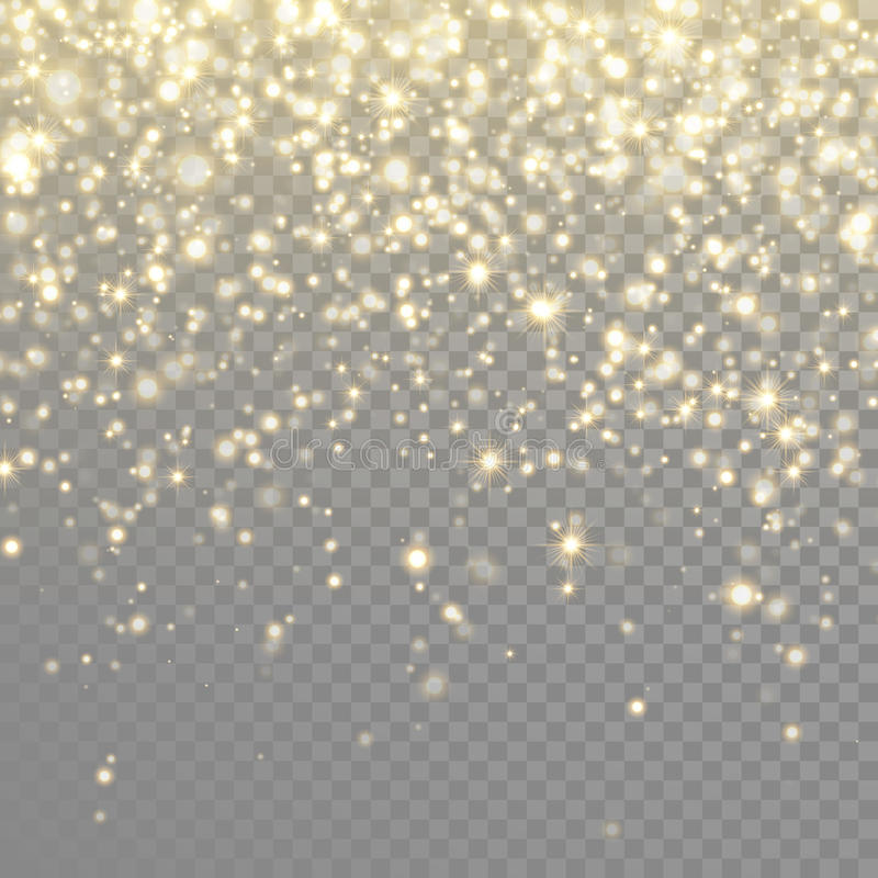 Vector gold glitter particles background effect stock illustration