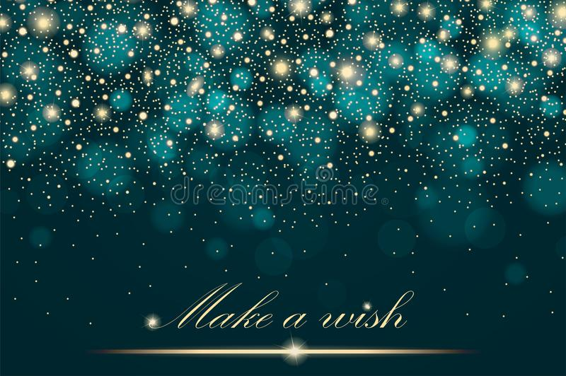 Vector gold glitter particles background effect for luxury greeting rich card. Sparkling texture. Star dust sparks in explosion vector illustration