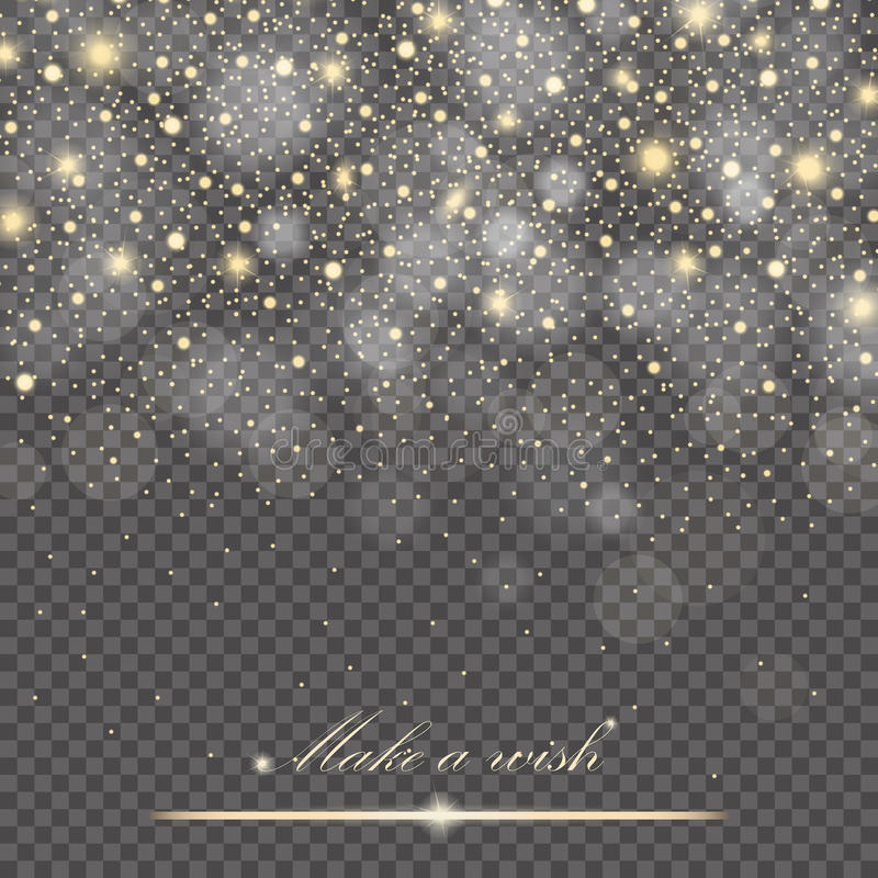 Vector gold glitter particles background effect for luxury greeting rich card. Sparkling texture stock illustration