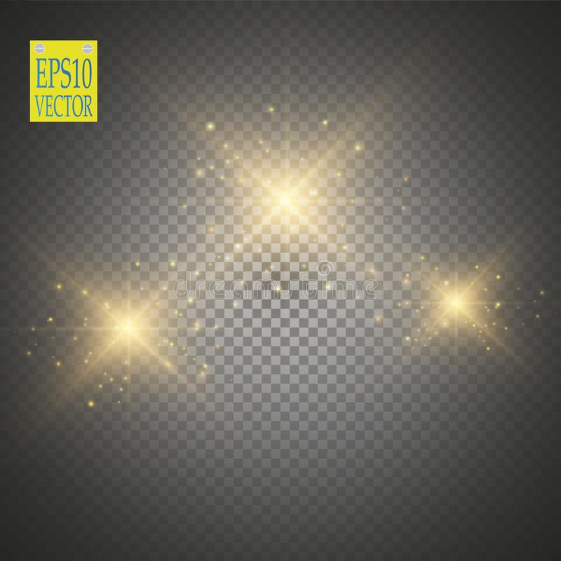 Vector gold glitter wave illustration. Gold star dust trail sparkling particles isolated on transparent background. Magic concept stock illustration