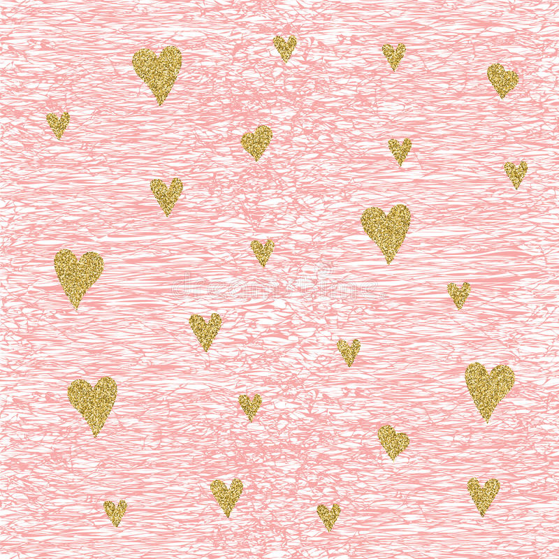 Free Vector Gold Glittering Heart Seamless Pattern Stock Images - 73107374