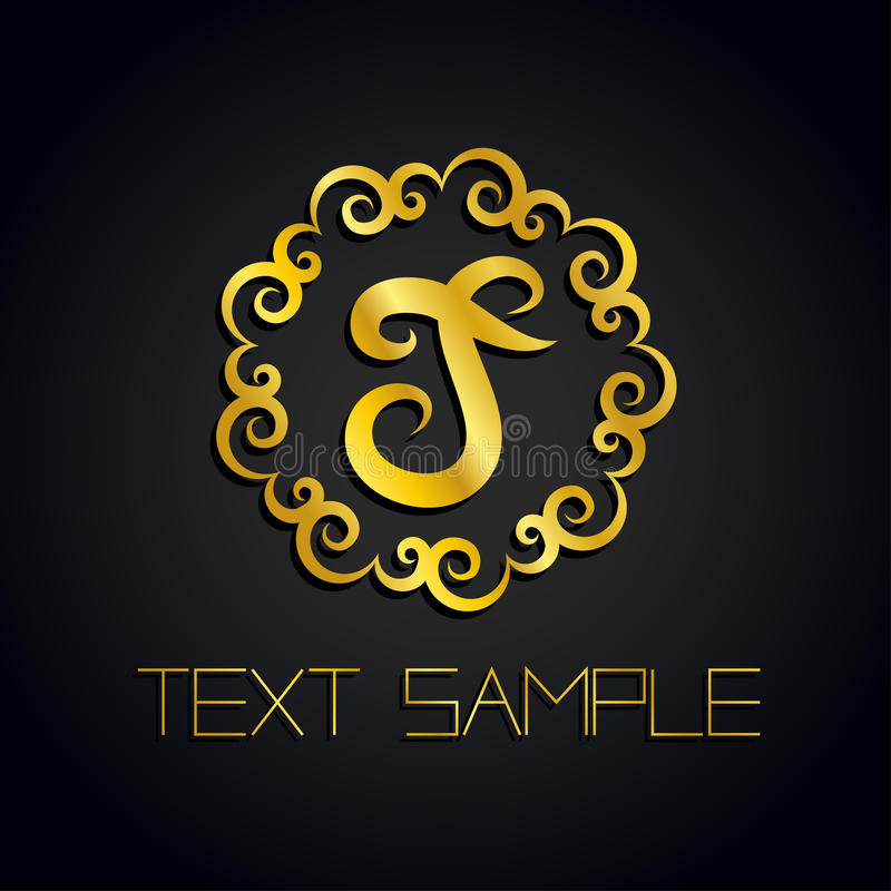 Vector a gold letter logo or label, icon for company. Use for identity, ad, alphabet.  royalty free illustration