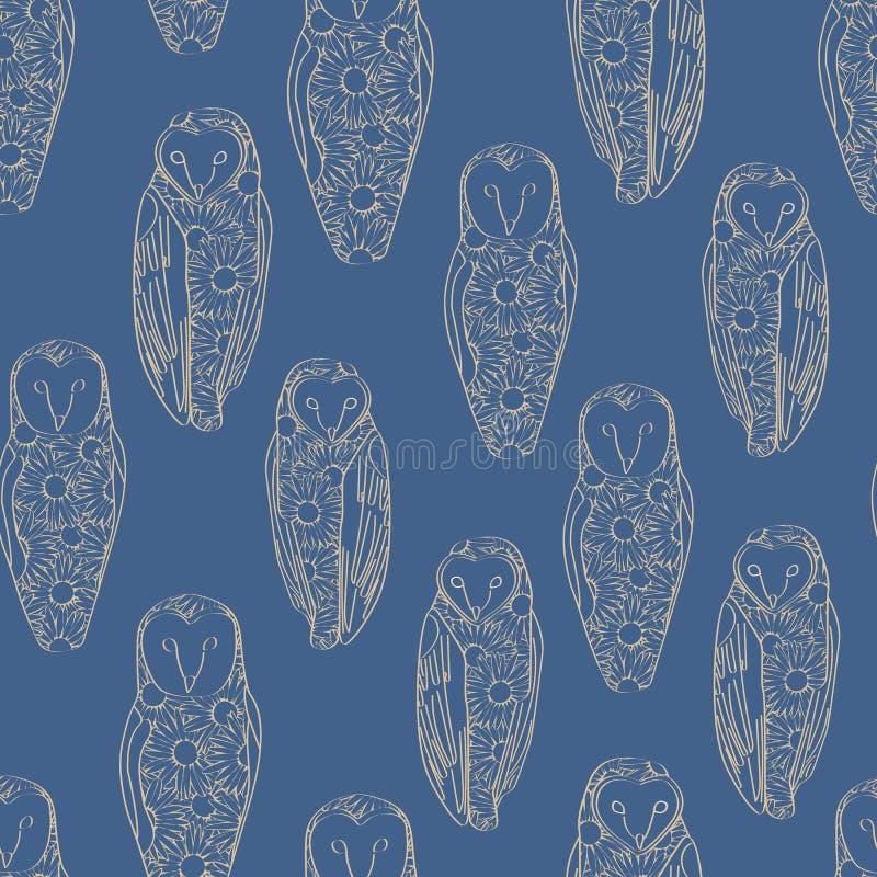 Vector Gold Line Art Floral Owings su Blue Background - Serie di ripetizione perfetta Tessuti, CARDS illustrazione di stock