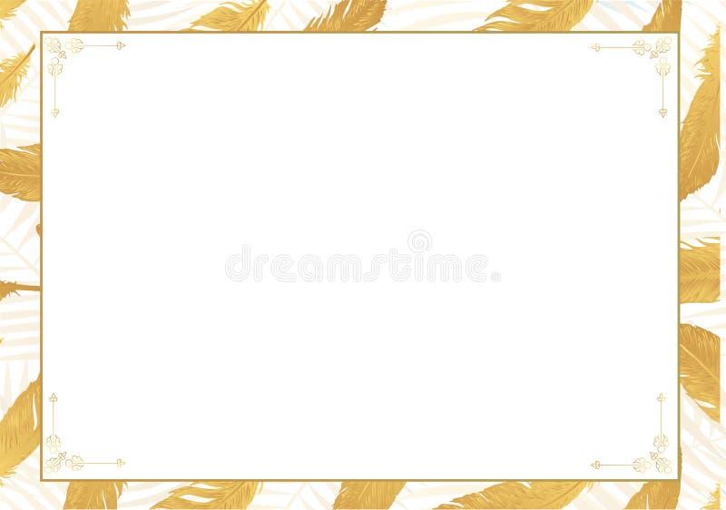 Vector gold metallic feather photo poster frame stock illustration