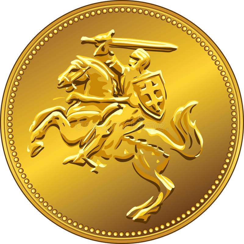Vector gold money coin with of the charging knight royalty free stock image
