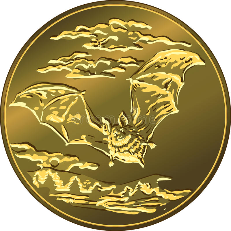 Vector gold money coin with flying bat stock image