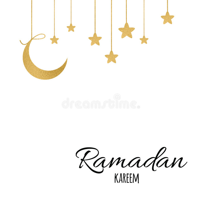 vector gold moon with gold stars for holy month of muslim community rh dreamstime com Gold Moon with Face Clip Art Gold Star Clip Art