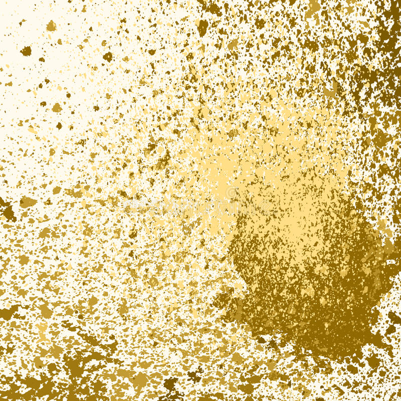 Vector gold paint splash, splatter, and blob on white background. Spray stains abstract background, illustration royalty free illustration