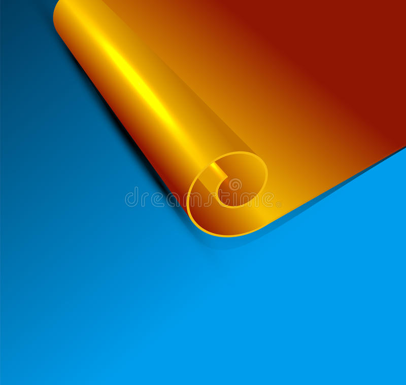 Download Vector Gold Scroll On A Blue Background Stock Vector - Image: 26344864