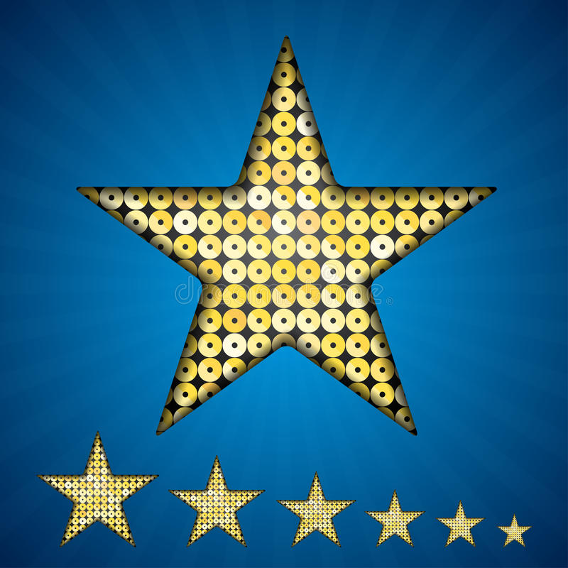 Vector gold sequin star on a blue background. royalty free illustration