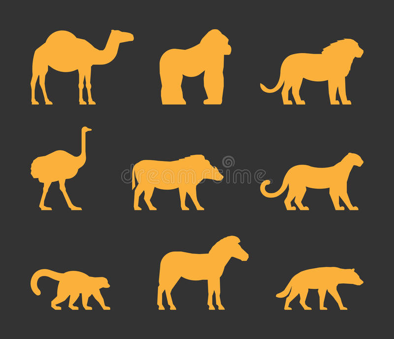 Vector gold set of silhouettes african animals. stock illustration