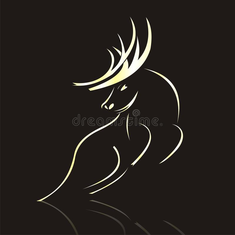 Vector gold Silhouette of Deer
