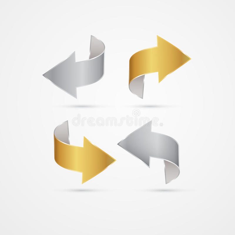 Vector Gold and Silver Arrows Set. Vector Gold and Silver Arrows Isolated on Grey background royalty free illustration
