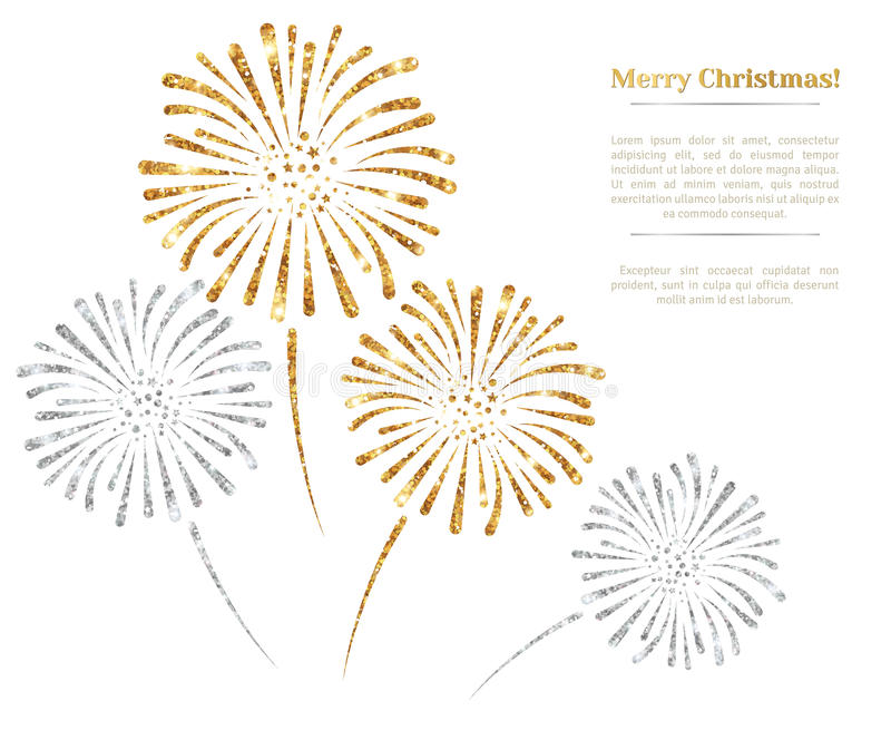 Vector gold and silver fireworks on white background. Vector illustration. Gold Glitter Texture, Sequins Pattern. Lights and Sparkles. Glowing New Year or royalty free illustration