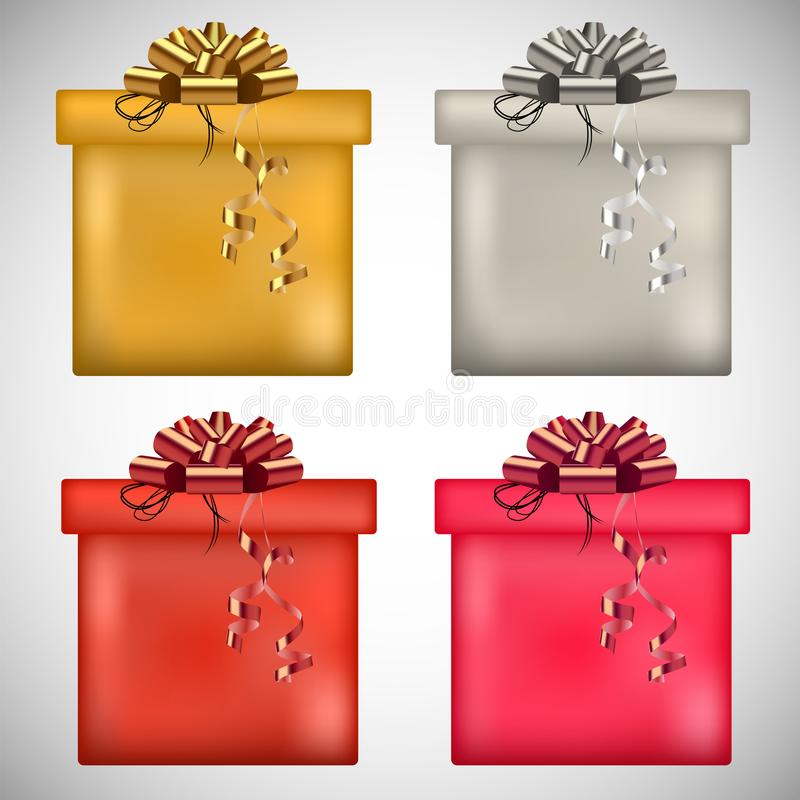 Vector gold, silver, rose present boxes and ribbons. vector illustration