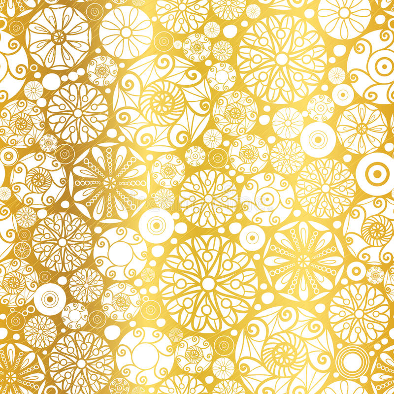 Vector Gold White Abstract Doodle Circles Seamless Pattern Background. Great for elegant texture fabric, cards, weddin. Vector Gold White Abstract Doodle Circles royalty free illustration
