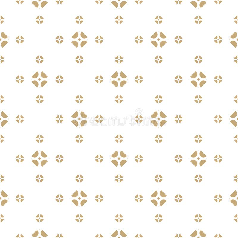 Vector gold and white background. Abstract geometric floral seamless pattern. stock illustration