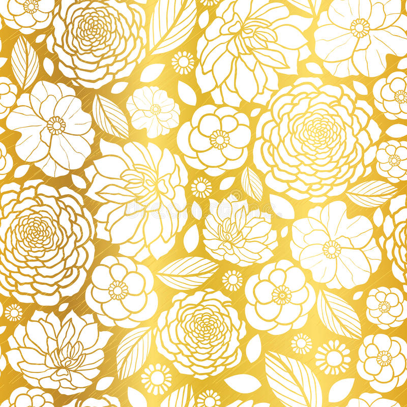 vector gold and white mosaic flowers seamless repeat