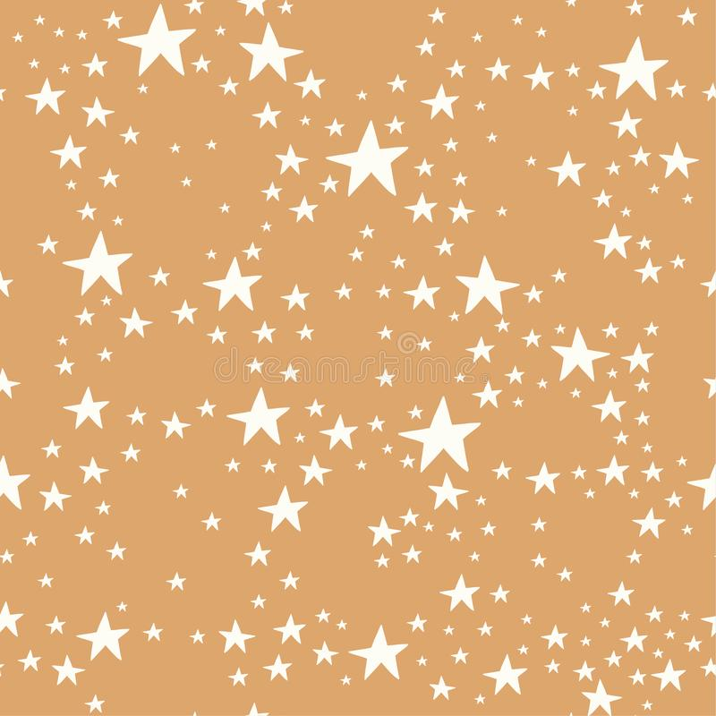 Vector gold and white star seamless repeat pattern background royalty free illustration