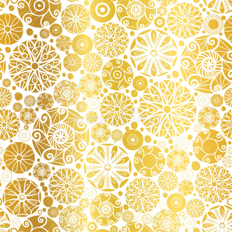 Vector Golden Abstract Doodle Circles Seamless Pattern Background. Great for elegant gold texture fabric, cards, wedding invitations, wallpaper. Surface vector illustration