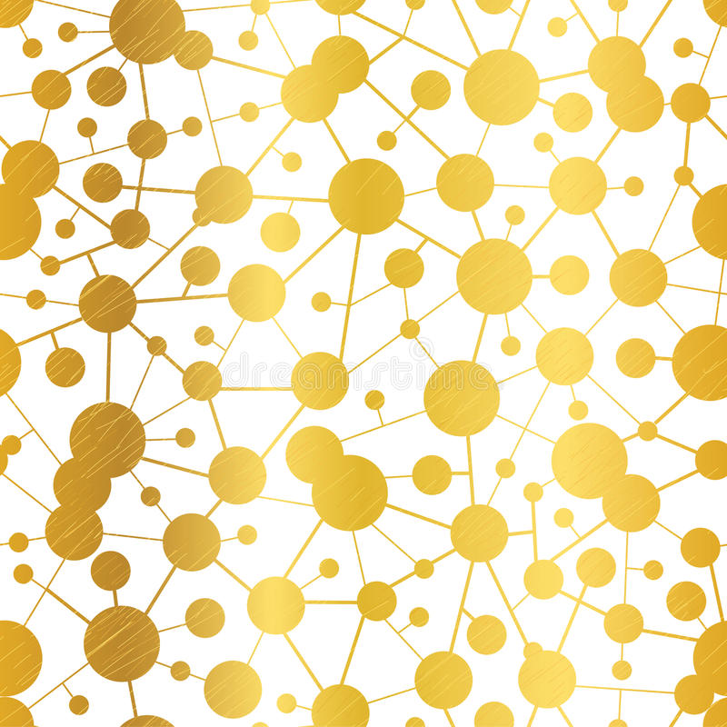 Vector Golden Abstract Molecules Network Seamless Pattern Background. stock illustration