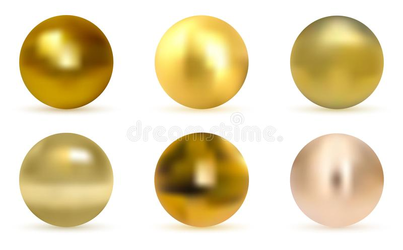 Vector golden ball. Realistic gold sphere. royalty free illustration