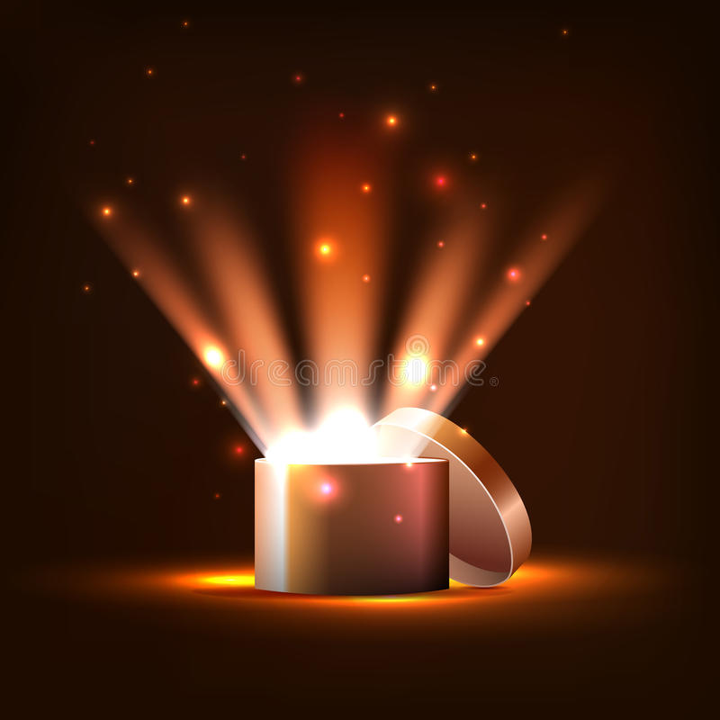 Vector ,golden box of light and sparks, royalty free stock photography