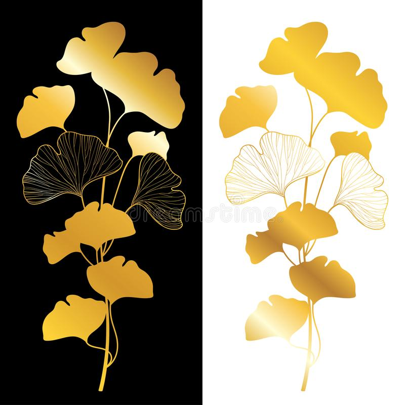 Free Vector Golden Branch Silhouette Of Gingko Or Ginkgo Biloba Tree. Bunch With Leaf In Gold Isolated On White And Black Background. Stock Image - 166680571