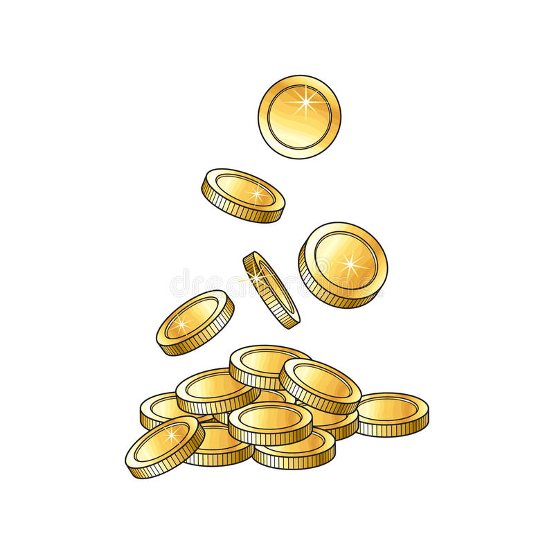 Vector golden falling coins, money illustration. royalty free illustration