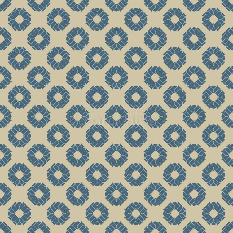 Vector golden floral seamless pattern. Blue and gold geometric background stock illustration