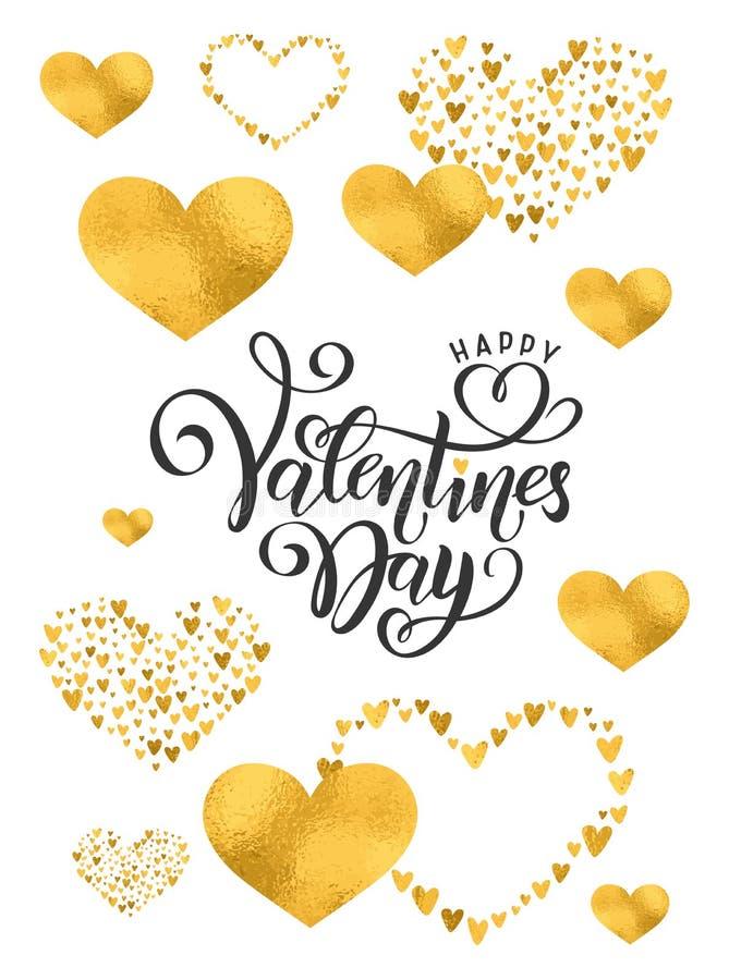 Vector golden foil handwritten lettering Happy Valentines Day. Calligraphy drawn text Valentines Day hearts gold pattern. Vector golden foil effect handwritten stock images