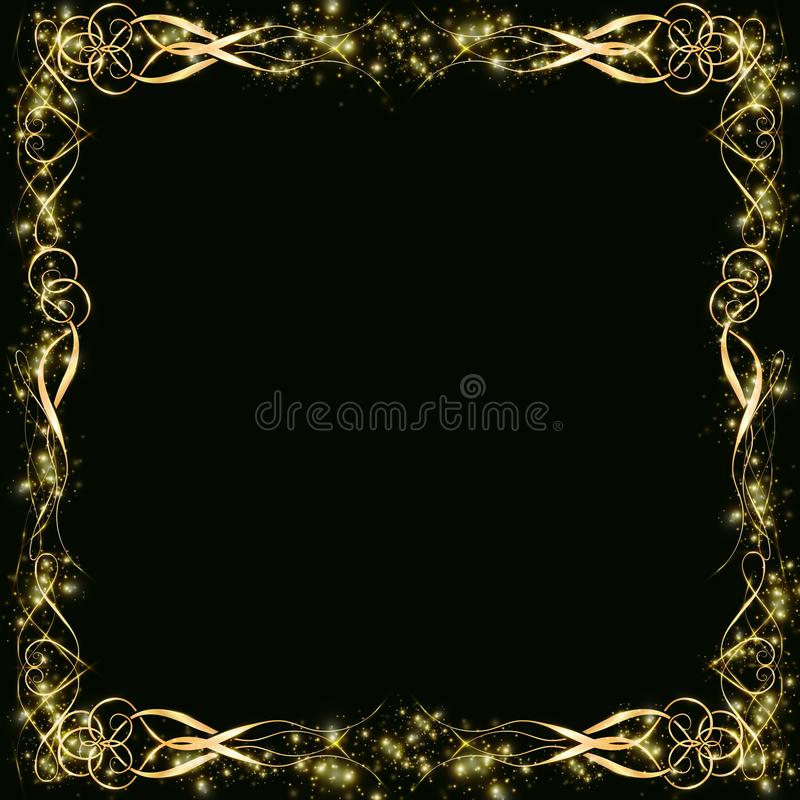 Vector golden frame with hearts effects of light. Preparation for postcard Christmas wedding. Shining rectangle. on a black background EPS 10 vector illustration