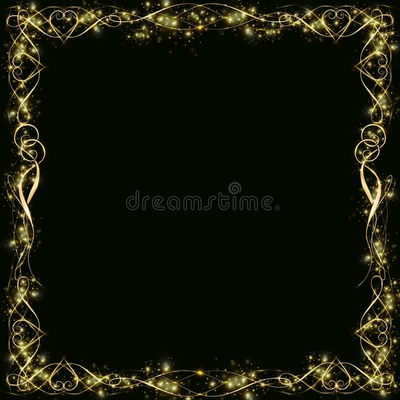 Vector golden frame with hearts effects of light. Preparation for postcard Christmas wedding. Shining rectangle. on a black background EPS 10 stock illustration