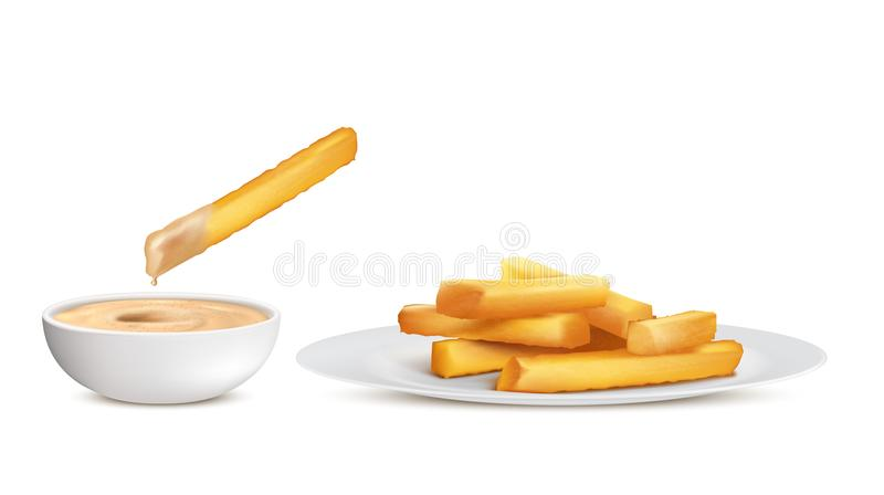 Vector golden french fries, fried potato chips royalty free illustration