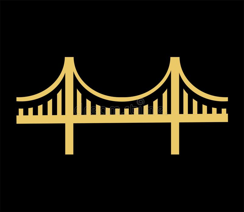 Vector Golden Gate Bridge Icon. Vector illustration of a golden gate bridge icon. symbol isolated on black background royalty free illustration